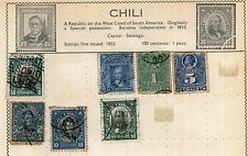 Chile Stamp Collection on Old Album Page -  Used