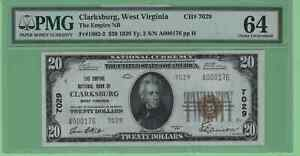 US National Currency Clarksburg WV CH7029 $20 Note 64 Choice PMG