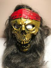 Skull Pirate Mask Jolly Roger Latex Mask With Hair  Halloween Mask