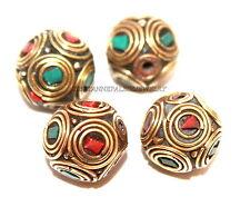 Nepal beads 4 Nepalese Beads Tibetan beads handmade coral turquoise beads 143