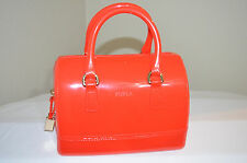 NWT $248 AUTHENTIC FURLA CANDY SATCHEL JELLY BAG Arancio 817078