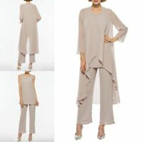 Chiffon Mother of the Bride Pants Suits 3 Pieces Formal Wedding Long Jacket Plus