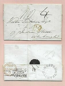 GB 1836 KINGSTON on THAMES TO EDINBURGH ENTIRE  WITH LONDON BOXED ADDL 1/2d