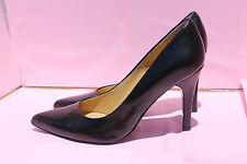 NINE WEST 6.5M GWENDLE Black Leather Modest Pointed Toe PUMPS Women's Shoes