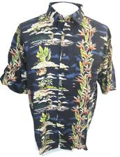 SUMMA Men Hawaiian ALOHA shirt pit to pit 26 sz L rayon tropical tiki lounge