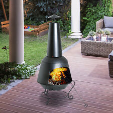 Outsunny Fire Pit Outdoor Garden Brazier Patio Heater Charcoal Burner Metal Chim