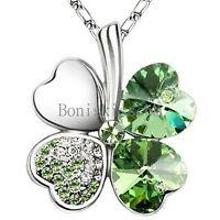 Lucky Crystal Heart Shape Four Leaf Clover Pendant Necklace Silver Tone Chain