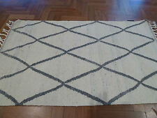 CASBAH MOROCCAN IVORY GREY ZIGZAG HAND KNOTTED WOOL MODERN FLOOR RUG 200x280cm