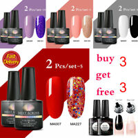 2Bottles MEET ACROSS 8ml UV Gel Nail Polish Set Soak Off Color Glitter Christmas