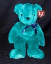 "13"" LARGE TY BEANIE BUDDIES 2000 TEAL GREEN TEDDY BEAR STUFFED ANIMAL PLUSH TOY"