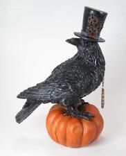 Black Crow Wearing Top Hat Sitting on Orange Halloween Pumpkin 9 Inches Tall