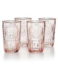Bormioli Rocco Romantic Glass Drinking Tumbler 10.25 Oz 4 Set Cotton Candy Pink