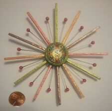 New! Beautiful OOAK Dollhouse Miniature 1:12 Scale Wall Clock Mid-Century Modern
