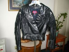 Womens Vintage Black Leather Rock & Roll Jacket W/ Fringes 1990's SZ Med 10