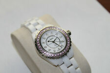 Chanel J12 33mm Quartz, White Diamond Dial, Pink Sapphire Bezel - White Ceramic