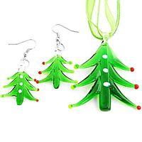 Christmas Tree Lampwork Glass Murano Bead Ribbon Necklace Earring Set