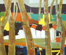 """Rene Couturier """"Village Normandy"""" Signed & Numbered Lithograph, France, trees"""