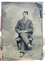 Antique Victorian Tintype Photograph Hand Painted Blush Man on Chair Mustache