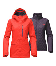 North Face Women's Thermoball Snow Triclimate Jacket Medium Fire Brick Red