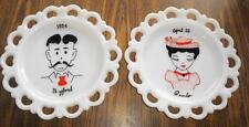 "Wall PLATES MILK GLASS 1950s Shelf Decor Pair Mr & Mrs Vintage Painted Set  8"""