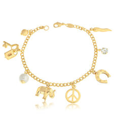 Women Jewelry 14k Gold Filled Bracelet Set 9 Good Lucky Charms Suerte Peace Yoga