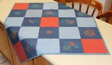 Recycled Blue Jean w/ Embroidery Handmade Quilt
