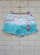 WAR ZONE DENIM SHORTS SIZE XS-S SHORT STUDDED STITCHED DIP DYED ORIGINAL