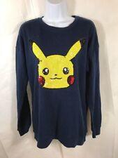 NWT Pokemon Womens Sequin Pikachu Loose Crew Neck Sweatshirt Size M Blue