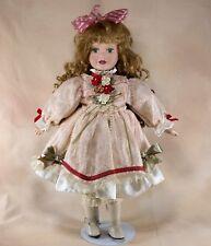 "Porcelain Collector's Girl Doll 17"" Long Curly Hair Green Eyes Eyelashes"