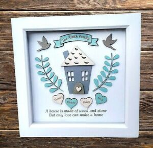 Personalised Frame Deep Box Family Tree Home Decor Hearts Names Gift