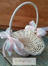 1 Streukörbchen Blumenkörbchen Korb Weiß Hochzeit Deko Blumenmädchen Rosa