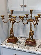 Antique 2 Neoclassical Style Bronze Figural Candelabra 20� T Roman/Greek Boys