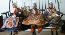Vintage Santons de Provence E Ferriol Fiat Main Terracotta Figurines 3 Women