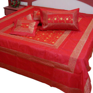 Indian Banarasi Bedspreads Embroidered Silk Brocade Red Bed Cover Bed sheet New