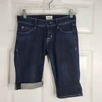 HUDSON Size 24 Denim Jeans Bermuda Long Length Roll Cuff Shorts Womens Stretch