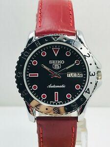 Rare Black Vintage Japan Seiko 5 Automatic Date/Day Men's Wrist Watch Japan Made