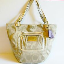 COACH Purse Tote Shoulder Bag X-Large Khaki Glam Signature Fabric #M0969-14569