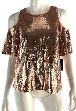 INC Womens 04709 Rose Gold Sequins Cold Shoulder Short Sleeve Party New Years PM