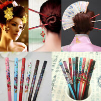 2PCS Graceful Floral Bride Hairpin Wooden Hair Stick Chopsticks Pin