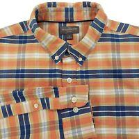 LL Bean Signature Slim Fit Plaid Flannel L/S Button Front Shirt Men's LARGE