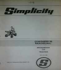 Simplicity Broadmoor 738 Lawn & Garden Tractor Owner & Parts Manual 32pg no.#898