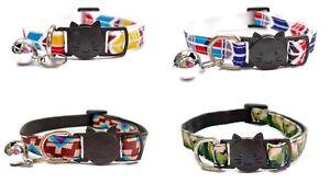 Cat Collars with Bell - Blocks Design   Pet Collars   Safe, Quick Release Buckle