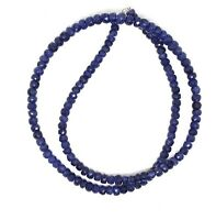 Natural Sapphire Blue Faceted 4-5MM Rondelle Beads Gemstone necklace 36Inch