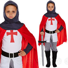 Boys Medieval Knight Crusader Fancy Dress Costume Camelot Childs St Georges Kids Size Medium / Age 7 8 9