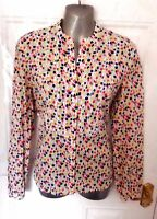 LAURA ASHLEY Size 10 White Blue Pink Yellow Tulip Button Up Cotton Blouse Top