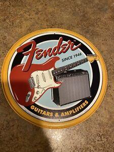 Fender Guitars and Amplifiers Tin Metal Sign - Guitar - Rock - Since 1946 Retro