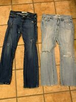 ABERCROMBIE & FITCH LOT 2 DISTRESSED LIGHT MED BLUE JEANS 8 29 33  LOW EMMA BOOT