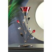 "Ruby Blossom Tealight Candle Holders, Glass, Iron, 11.25"" H (LED light Included)"