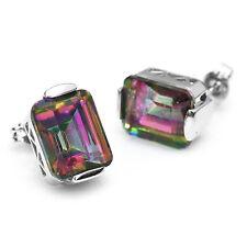 9.5ct Emerald Cut Natural Mystic Rainbow Topaz Earrings Stud 925 Sterling Silver