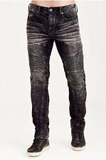 True Religion Men's Rocco Moto Relaxed Skinny Corduroy Pants in Acid Wash Onyx